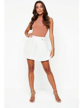 white-pleated-military-button-mini-skirt by missguided