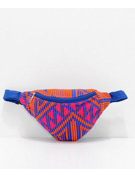 barganza-orange-&-pink-woven-fanny-pack by barganza