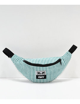 obey-wasted-green-&-white-striped-fanny-pack by obey