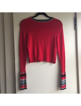 topshop-red-ribbed-crop-top-size-medium-size-six by topshop