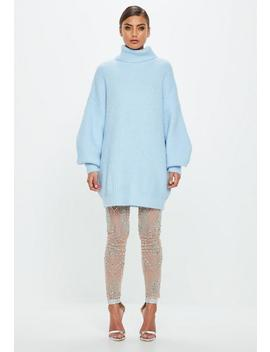 peace-+-love-blue-roll-neck-oversized-dress by missguided