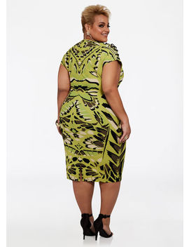 grommet-shoulder-camo-dress by ashley-stewart