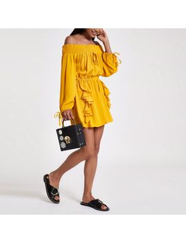 petite-yellow-frill-front-bardot-playsuit by river-island