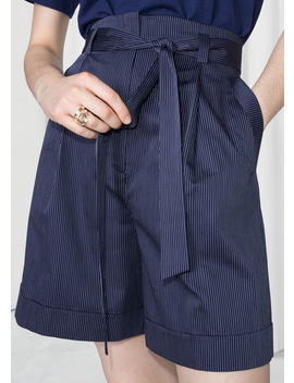 belted-pinstripe-shorts by &-other-stories