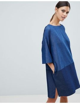 french-connection-ethel-denim-contrast-shift-dress by french-connection