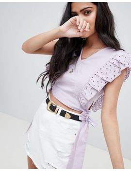 glamorous-crop-top-with-broderie-frill-and-waist-ties by glamorous