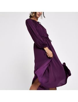 purple-tie-neck-shirred-midi-dress by river-island