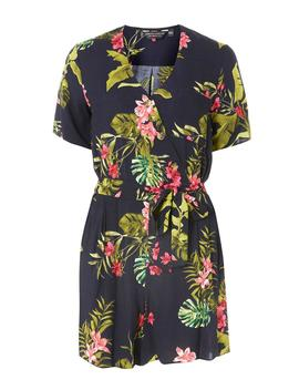 Navy Tropical Print Horn Button Playsuit by Dorothy Perkins