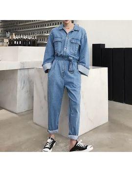 denim-tie-waist-jumpsuit by ancho