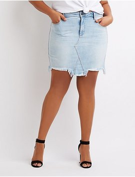 Plus Size Cello Destroyed Denim Mini Skirt by Charlotte Russe