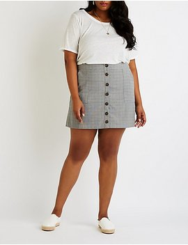 Plus Side Plaid Button Up Skirt by Charlotte Russe