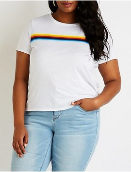 plus-size-rainbow-striped-tee by charlotte-russe