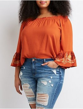 Plus Size Floral Bell Sleeve Off The Shoulder Top by Charlotte Russe
