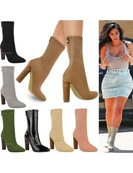 womens-ladies-knitted-ankle-boots-stretchy-block-high-heels-celebrity-shoes-size by ebay-seller