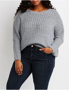 Plus Size Dolman Pullover Sweater by Charlotte Russe