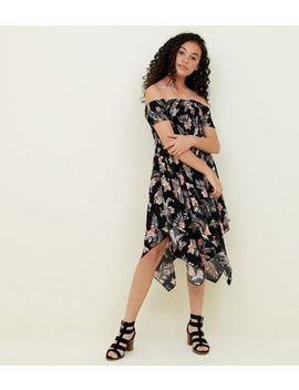 girls-black-tropical-hanky-hem-dress by new-look