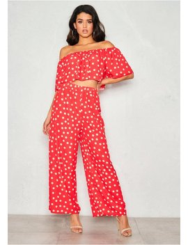 aliyah-red-polkadot-bardot-co-ord-set by missy-empire