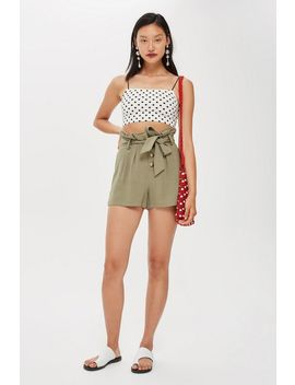 Linen Button Paperbag Shorts by Topshop