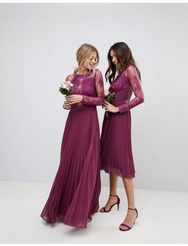 asos-design---robe-longue-de-demoiselle-dhonneur-avec-manches-en-dentelle-et-dentelle-frangée by asos-collection