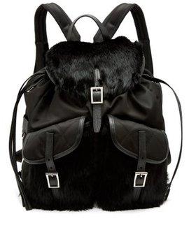 small-fox-fur-trimmed-nylon-backpack by prada