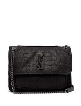 niki-medium-crocodile-effect-leather-shoulder-bag by saint-laurent