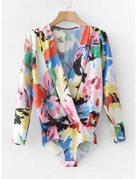 abstract-florals-surplice-blouse-bodysuit by shein