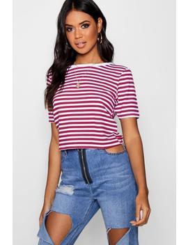 t-shirt-court-côtelé-contrasté by boohoo