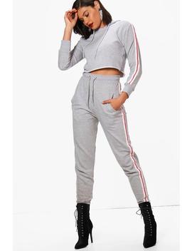 sweat-à-capuche-à-manches-bandes-contrastées-&-ensemble-jogging by boohoo