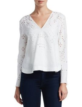 linen-eyelet-blouse by theory
