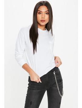 white-long-sleeve-boxy-pocket-top by missguided