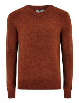 rust-v-neck-jumper by topman