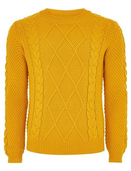 mustard-cable-knit-jumper by topman