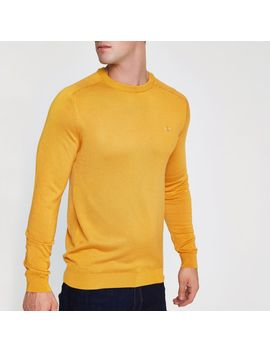 yellow-slim-fit-crew-neck-jumper by river-island