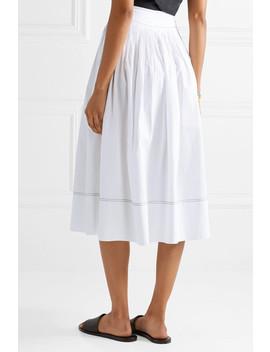 katriane-pleated-cotton-poplin-midi-skirt by ulla-johnson
