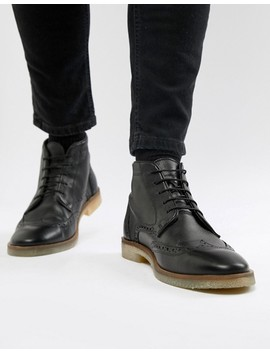 asos-design-brogue-boots-in-black-leather-with-natural-sole by asos-design