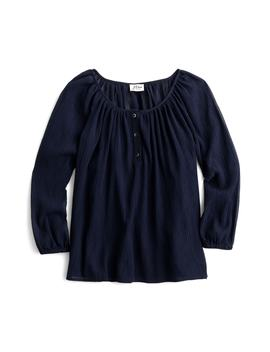 point-sur-crinkled-cotton-&-silk-popover-top by jcrew