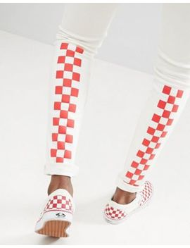 asos-design-super-skinny-jeans-in-white-with-red-checkerboard-print by asos-design