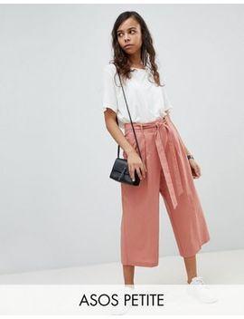 asos-petite---jupe-culotte-habillée-en-lin-avec-ceinture-à-nouer by asos-petite