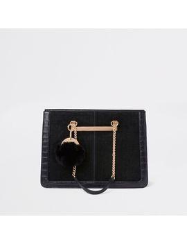 black-chain-handle-pom-pom-tote-bag by river-island
