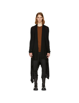 black-long-wrap-cardigan by rick-owens