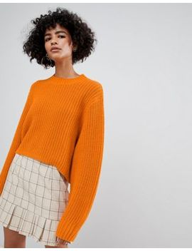 weekday-thick-rib-cropped-sweater-in-orange by weekday
