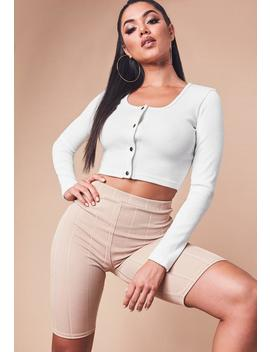 white-ribbed-long-sleeve-popper-crop-top by missguided
