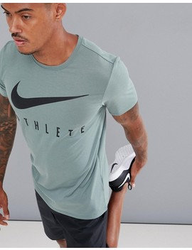 nike-training-dry-athlete-logo-t-shirt-in-green-739420-365 by nike