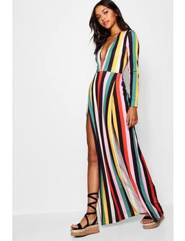 tall-plunge-side-split-stripe-maxi-dress by boohoo