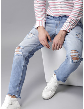here&now-men-blue-skinny-fit-mid-rise-highly-distressed-jeans by here&now