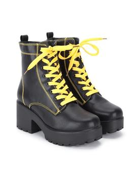 yellow-lace-and-stitched-black-platform-boots by koi-footwear