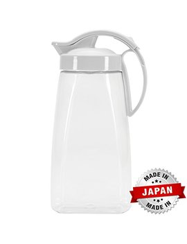 quickpour-airtight-pitcher-with-locking-spout-japanese-made---for-water,-coffee,-tea,-other-beverages---23-quarts---clear-with-white-top by pratico-kitchen