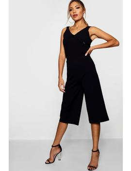 button-detail-culotte-jumpsuit by boohoo
