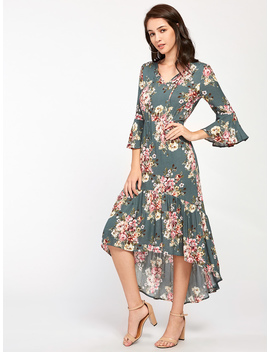 tie-neck-bell-sleeve-flounce-dip-hem-dress by romwe