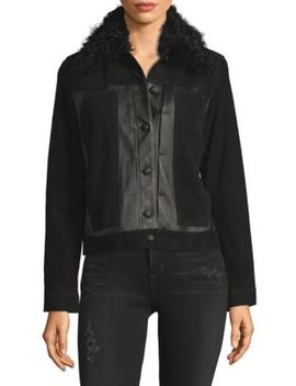 Toby Shearling Collar Leather & Suede Jacket by Derek Lam